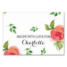 boho chic Coral  floral bridal shower recipe cards Table Card
