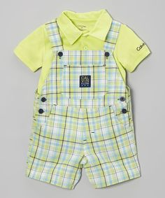 Green Polo & Plaid Overalls | Daily deals for moms, babies and kids