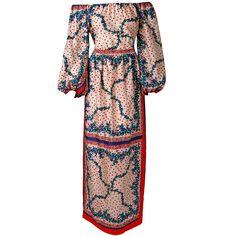 1960 s elizabeth arden off shoulder floral print silk blouse amp maxi