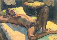 "Duncan Grant  Reclining Male Nude  Oil on board  1947  15 x 20 ¾ in  ""Roche's first novel, O Pale Galilean (1954), is credited with having gained him a teaching post, between 1956 and 1958 in the English Department at Smith College, Northampton,..."