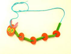 Caterpillar Necklace Craft for Kids: Great way to practice patterning by responding to literature!~ Buggy and Buddy