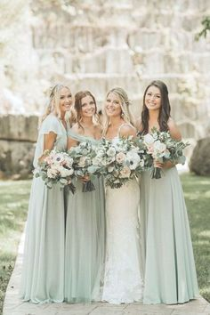 Wedding Color Trends: 30 Silver Sage Green Wedding Color Ideas - Green Dresses - Ideas of Green Dresses - - sage green wedding bridesmaids dresses and romantic bouquets T&K Photography Wedding Color Trends: 30 Silver Sage Gree Mint Green Bridesmaid Dresses, Wedding Bridesmaid Dresses, Prom Dresses, Bridesmaid Ideas, Sage Dresses, Beautiful Bridesmaid Dresses, Chiffon Dresses, Evening Dresses, Bridesmaid Bouquet