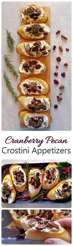 These cranberry pecan crostini appetizers are so easy to make and the cheese spread goes beautifully with the toppings. #ad #BoursinCheese @boursincheese