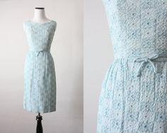 60s dress  blue eyelet wiggle dress by 1919vintage on Etsy, $94.00