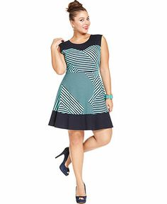Soprano Sleeveless Printed Plus Size A-Line Dress