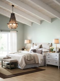 Sea Salt SW 6204 walls will help brighten up any bedroom while accents of Silver Strand SW 7057 and Pure White SW 7005 maintain calm serenity for a bedroom oasis.