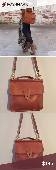 """•Coach• Vintage Willis Bag in British Tan Coach Vintage Willis Bag in British Tan. In Good Vintage Condition. Bag Circa 1990's. super Soft Tan/ Brown Leather. Includes Long Star and Coach Tag. Please see Pictures, this Bag does Show Signs of Wear With Scuffing Throughout, Interior Pen Marks, Minor Creasing. Approximately 10"""" x 10"""" Coach Bags Crossbody Bags"""
