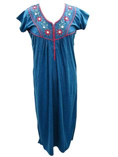 Boho Indian Stylish Embroidered Kaftan Teal Blue Evening Wear Maxi Dress
