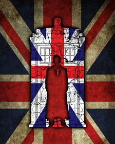 Tenth Doctor and Tardis with Union Jacks. This would be a kickass on a t-shirt.