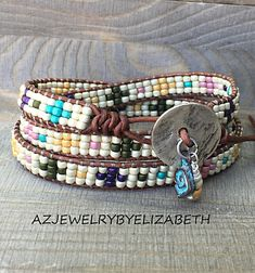 Beaded Wrap Bracelet/ Triple Wrap Bracelet For Women/ Seed Bead Leather Wrap Bracelet/ Boho Wrap Bracelet/ Multi-color Bohemian Bracelet.