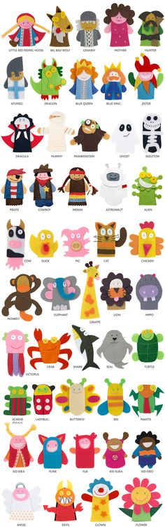 finger puppets, great ideas for hand puppets títeres de dedo Felt Diy, Felt Crafts, Kids Crafts, Felt Puppets, Felt Finger Puppets, Felt Ornaments, Felt Animals, Diy Toys, Diy For Kids