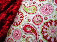Baby Girl Paisley Christmas Minky Blanket  32 x by BucciAndBubba, $36.00