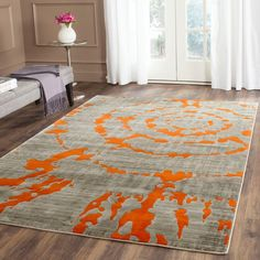Safavieh Porcello Light Grey/Orange 8 ft. 2 in. x 11 ft. Area Rug-PRL7735F-8 - The Home Depot
