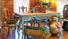 Vintage Thomasville French Blue Dining Table and 6 Chairs | Shop