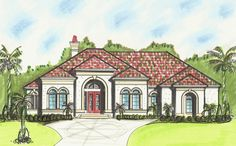 One Level Mediterranean House Plan - 13510BY | 1st Floor Master Suite, CAD Available, Den-Office-Library-Study, Florida, Jack & Jill Bath, Mediterranean, PDF, Sloping Lot, Split Bedrooms | Architectural Designs