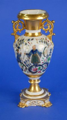 <b>RUSSIAN PORCELAIN CHINOISERIE DECORATED URN FORM VASE, Korniloff Brothers, St. Petersburg, first half 19th century;</b> <br  /> bearing makers mark in Cyrillic on inner rim; height: 10 3/4 inches  <br  />  <br  /> Provenance: Property from a Private Collection, Osterville, Massachusetts