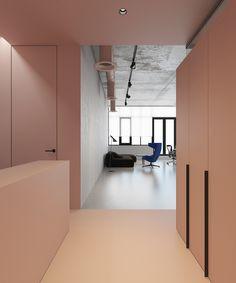 Pink office design developed by Kiev-based architect Emil Dervish. Office P demonstrates functional use of pink color in a spatial environment. Interior Inspiration, Design Inspiration, Design Simples, Design Apartment, Bureau Design, Brutalist, Commercial Interiors, Office Interiors, Interior Architecture