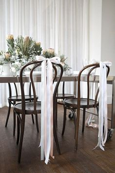 Ribbons tied in bows as chair decor. decorations chairs Mod Brunch Inspiration Shoot by White Room Events Chair Ties, Chair Sashes, Chair Backs, Wedding Chair Decorations, Wedding Chairs, Bridal Shower Decorations, Ribbon Decorations, Outdoor Decorations, Decoration Evenementielle