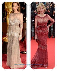 Un vestido de Elie Saab se lo vimos primero, en color nude, a Angelina Jolie en los Oscar 2014; después se lo vimos a Jane Fonda, en rojo, en el Festival de Cannes