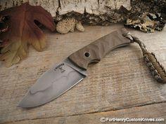 "Mcnees Custom Knives – PSK - $225  Handle Material: Textured Tan G-10 Handles, Blade Steel: 1095, Blade Length: 2  1/2″, OAL: 5  5/8"", Sheath: Kydex Neck"