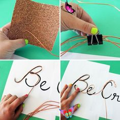 How to Create Wire Word Wall Art Do you have a favorite motto on mantra you try to live by? Us too! After a trip to the hardware store, we came up with making some of our favorites into wall art using...electrical wire. It might seem a bit crazy, but the results literally speak for themselves. Read on to learn how to make your own words of wisdom wall art out of wire.<br> Do you have a favorite motto on mantra you try to live by? Us too! After a trip to the hardware store, we came up with… Wire Wall Art, Metal Tree Wall Art, Metal Art, Wire Crafts, Diy And Crafts, Wire Letters, Wire Name, Do It Yourself Wedding, Diy Wall