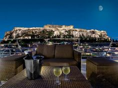Plaka Hotel. This is where we stayed, the view of the Acropolis is shown here from the roof-top bar