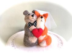 Unique wedding cake topper bride and groom Bear Fox bride and