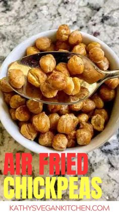 This easy chickpea recipe comes together in minutes with the air fryer.  Use them on salads, tacos and more. Chickpea Recipes Easy, Delicious Vegan Recipes, Healthy Recipes, Plant Based Whole Foods, Plant Based Recipes, Other Recipes, Whole Food Recipes