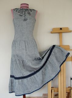 льняное платье, лен 100% handmade linen dress with hand embroidery