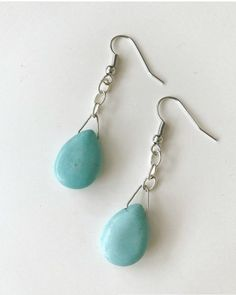 """Turquoise tear drop earrings. These earrings hang down about 2"""""""