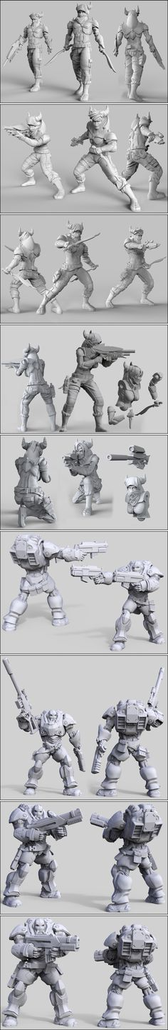Creating new 32mm sci-fi miniatures for one of the factions of our skirmish game.