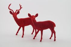 Pr Vintage Bright Red Flocked Felt Deer Buck Doe Reindeer Christmas Decorations  | eBay