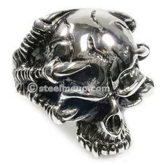 Stainless Steel Dragon Claws Fang Skull Men Biker Ring