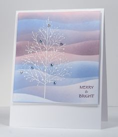 Striped sky (Merry Christmas, Heather Telford Dec - picture only Homemade Christmas Cards, Christmas Cards To Make, Xmas Cards, Homemade Cards, Merry Christmas, Holiday Cards, Handmade Christmas, Christmas Decor, Stampin Up Weihnachten