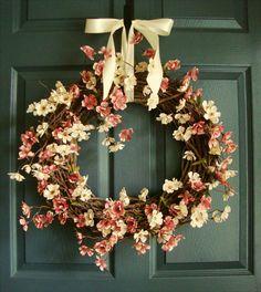 Wildflower Summer Wreath  Summer Door Wreaths  by HomeHearthGarden