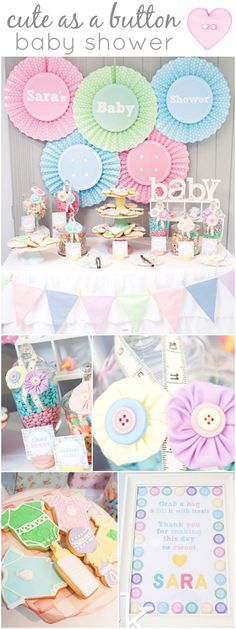 """The best """"Cute as a Button"""" baby shower party ideas! Love the measuring tape instead of ribbon <3."""