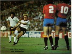 Spain 1 West Germany 2 in 1982 in Madrid. Karl-Heinz Rummenigge was inches wide with a free kick in Round 2, Group B at the World Cup Finals.
