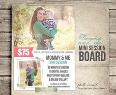 Mommy and Me Photography Marketing Board  5x7 by StudioTwentyNine, $8.00