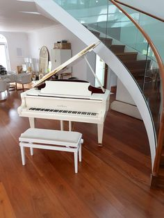 Choose your dream piano with the help of Euro Pianos Naples! Browse our selection of acrylic pianos for sale. Piano Stairs, Piano Room, Piano For Sale, White Piano, Cute Furniture, Music Studio Room, Best Piano, Recording Studio Design, Minimalist Home