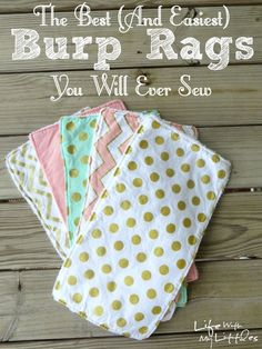 The Easiest (and Best) Burp Rags You Will Ever Sew is part of Sewing crafts Thoughts - This really is the easiest tutorial for a burp rag you could make! Only three steps, and they are the best burp rags! Great for easy baby gifts, too Baby Sewing Projects, Sewing Projects For Beginners, Sewing For Kids, Sewing Hacks, Sewing Crafts, Sewing Tips, Sewing Ideas, Sewing Basics, Baby Sewing Tutorials