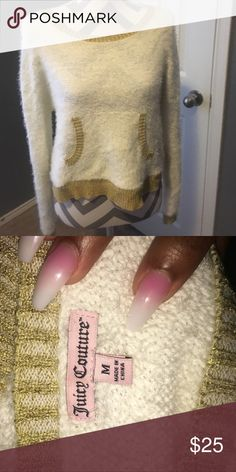 BRAND NEW Juicy Couture sweater Furry sweater with gold trim. Juicy Couture Sweaters Crew & Scoop Necks