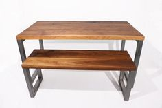 Modern Walnut and Steel Dining Table by foundpurpose on Etsy
