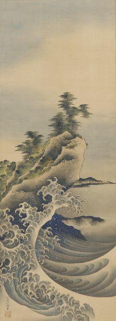 "Breaking Waves | Tattoo Ideas & Inspiration - Japanese Art | Katsushika Hokusai - ""Breaking Waves"", 1847 | The Smithsonian's Museums of Asian Art | #Japanese #Art"