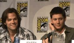 funny cute hilarious supernatural dean winchester sam winchester Jensen Ackles dean Jared Padalecki jared Sam j2 comic con jensen ackles winchester padalecki !!!! panel jensen and jared supernatural funny jared and jensen funny supernatural spn funny funny spn