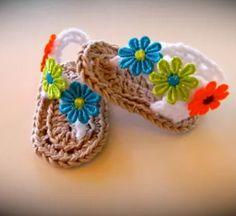 Crochet sandalias 0-3 meses por CuteZs en Etsy