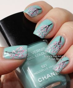 Cherry blossom nail art on Nouvelle Vague. Chanel. Green. Nails. Nail design. Polish.