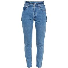 VETEMENTS High Waisted Jeans ($1,145) ❤ liked on Polyvore featuring jeans, pants, bottoms, pantalones, trousers, blue jeans, highwaist jeans, high-waisted jeans, highwaisted skinny jeans e high rise skinny jeans