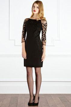 Morpheus Boutique  - Black Lace Round Neck 3/4 Sleeve Celebrity Pencil Dress