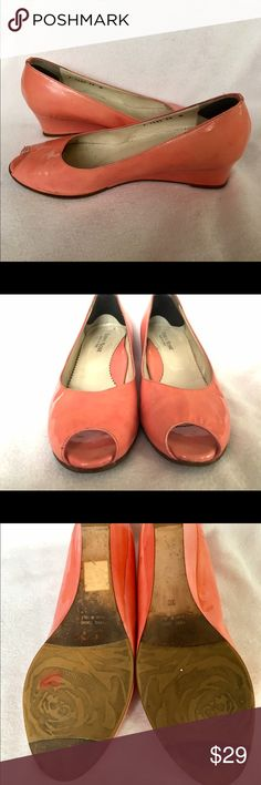Taryn Rose Open Toe Patent Leather 38 wedges Taryn Rose pink patent leather wedges Shoes Wedges
