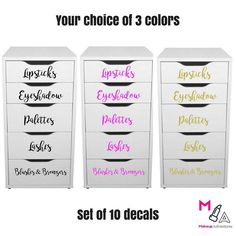 Makeup Vanity Stickers Decals Makeup Organization Set of ten. Perfect for the Ikea Alex drawers and essential for your makeup organization or storage. Hanging Makeup Organizer, Vanity Organization, Makeup Storage, Beauty Organizer, Cosmetic Storage, Cute Makeup, Diy Makeup, Ikea Makeup, Makeup Kit